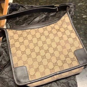 Gucci Monogram Brown Canvas W Leather Small Hobo